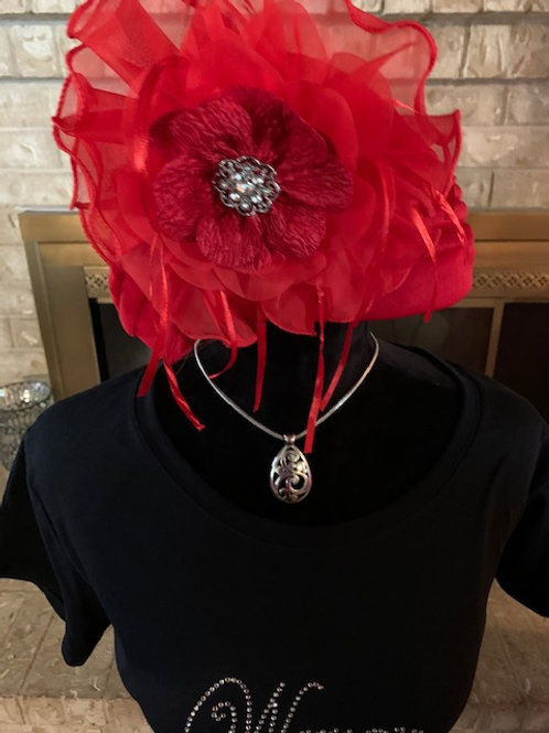 Red Fascinator with broach