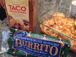Amy's burrito and rice with taco seasoning