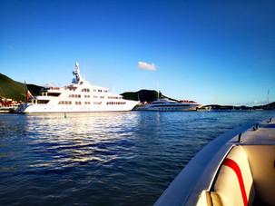 Mega Yachts in Simpson Bay Lagoon