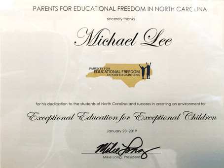2019 Parents for Educational Freedom in North Carolina Award