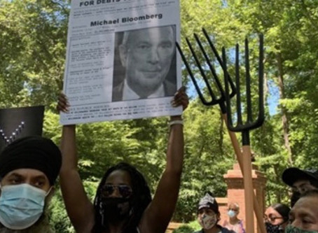 Protestors w/pitchforks at Mike Bloomberg's house