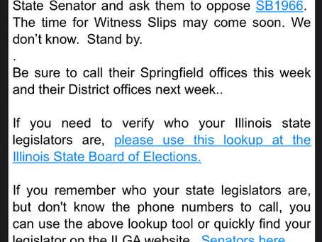 Illinois: draconian FOID card bill (SB1966) assigned to committee (also, a State Police FOIA)