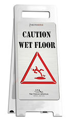 Hectoserve Deluxe wet floor sign with stainless steel finish
