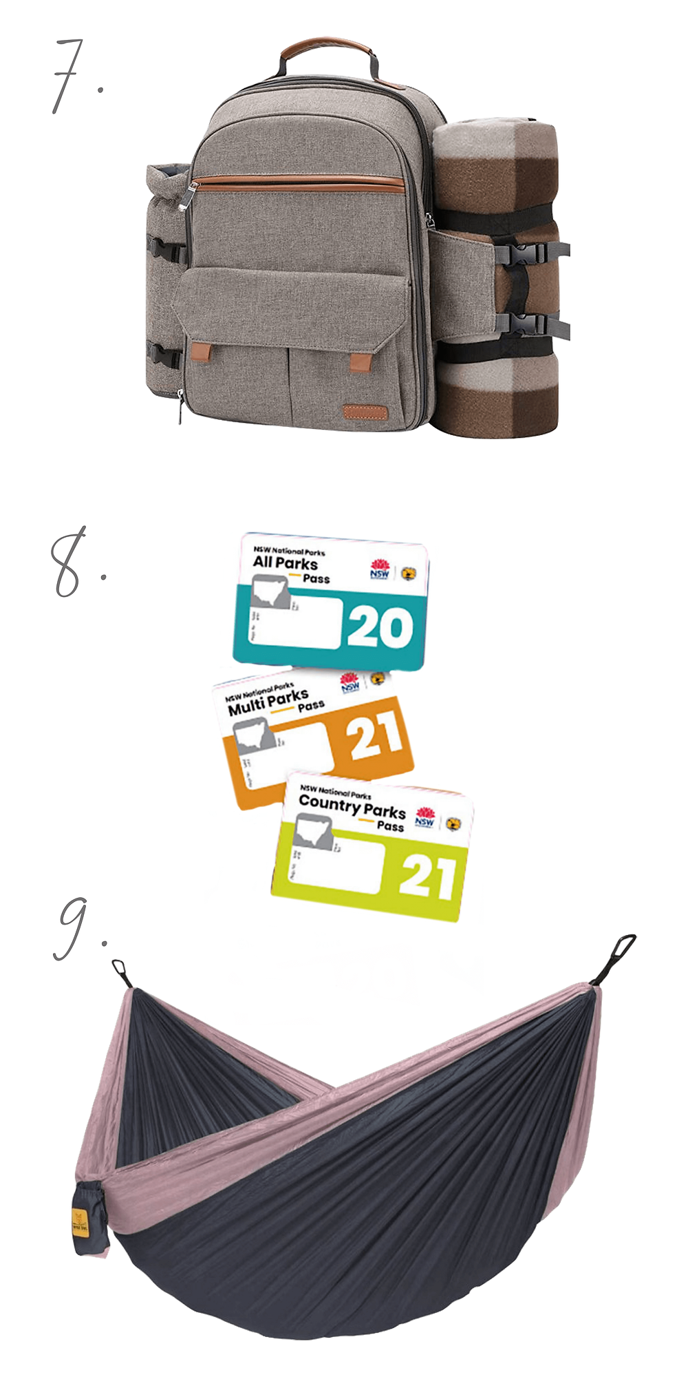 Cut out images of gifts: a brown backpack with a brown and cream picnic rug attached to the side, a set of cards depicting national park passes, a grey and blush pink hammock