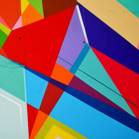 Lines and colored shapes
