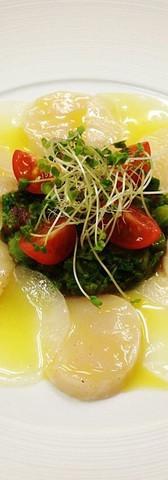 大根とホタテのカルパッチョ 菜の花の苦味を添えて