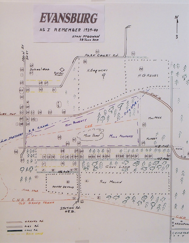 Map of Evansburg As I Remember It 1939-1940