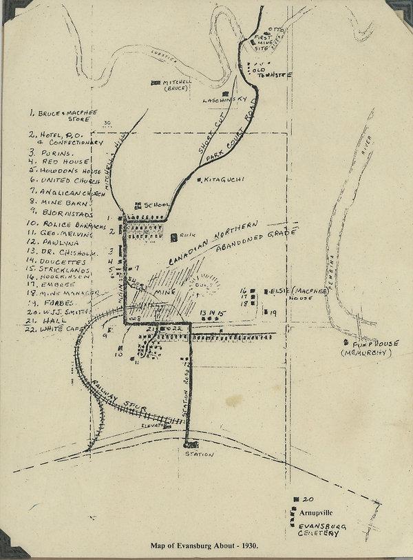 Map of Evansburg 1930