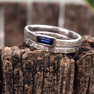 Sapphire Baguette and Diamond Band