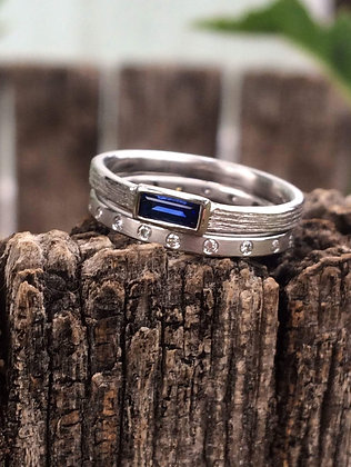 Custom White Gold Sapphire and Diamond Wedding Set