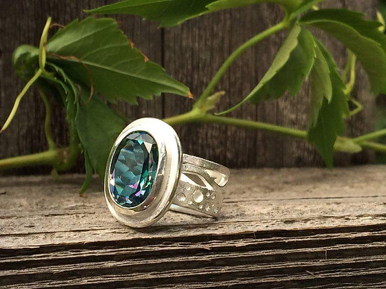 Rainbow Blue Topaz Cocktail Ring