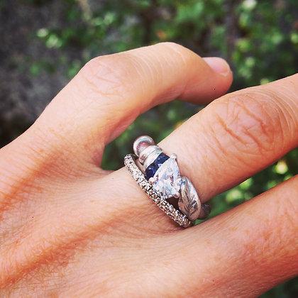 Custom Pear Shaped and Diamond Platinum Wedding Set