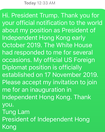 Personalised message sent to President T