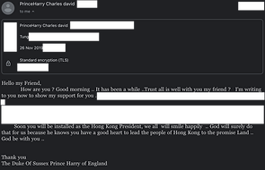 Contact with Prince Harry 26 November 20
