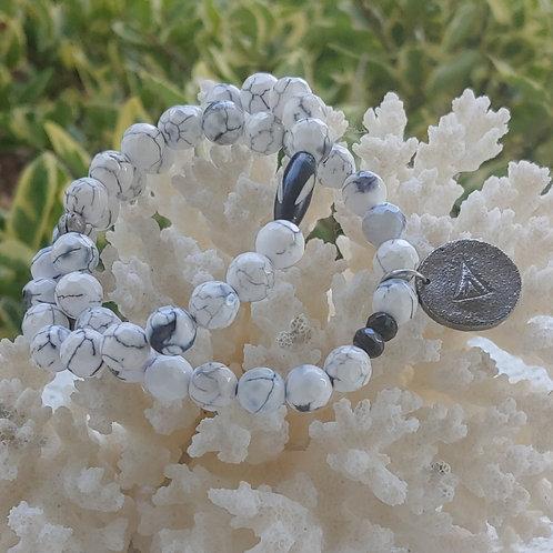 Frosted White Howlite Bracelet Set