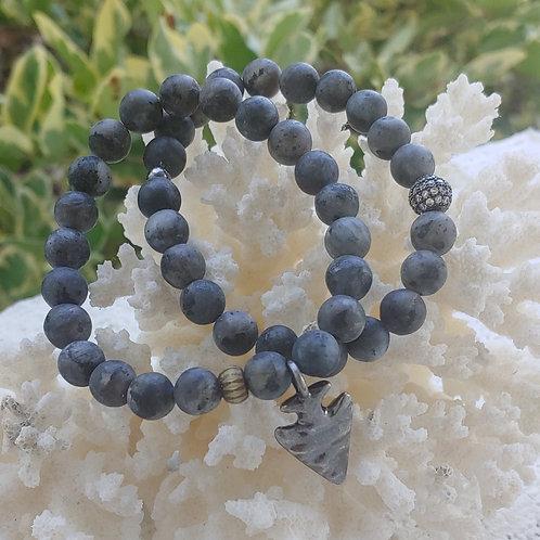 Matte Gray Arrowhead Bracelet Set