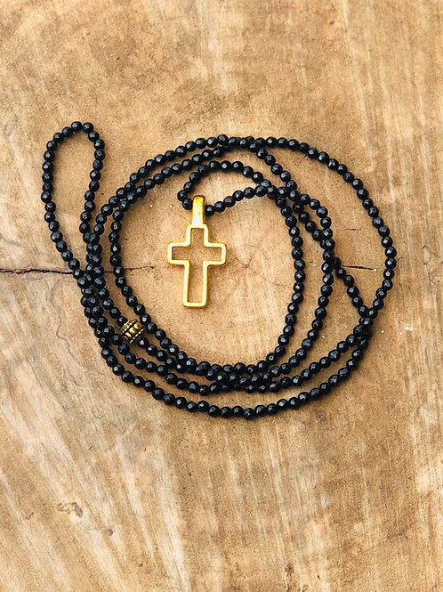 Black Onyx Beaded Necklace with Gold Cross