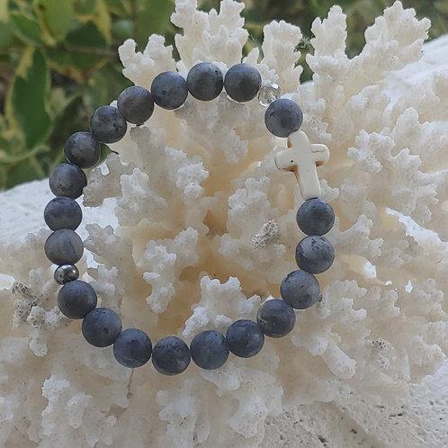 Matte Black Cross Bracelet