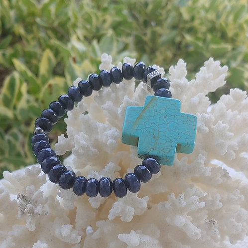 Blue Dumorite Cross Bracelet