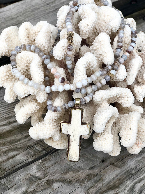Gray Botswana Agate Beaded Necklace with Cream Cross Soldered Pendant