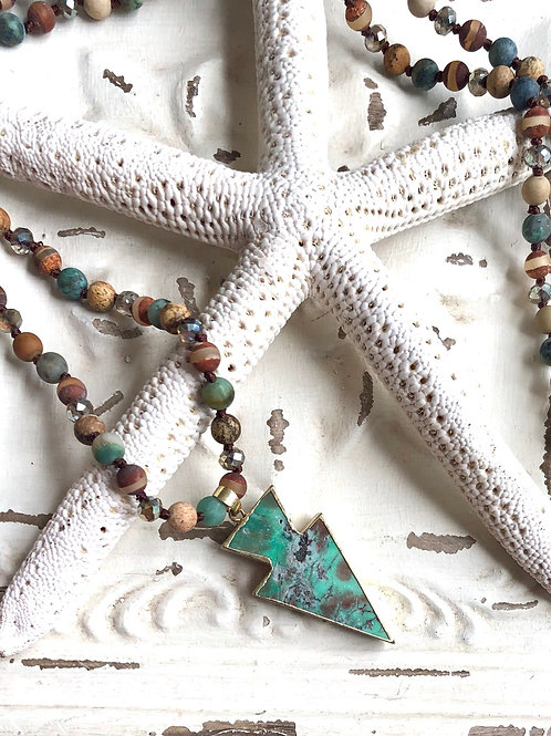 Jasper Multi-Color Knotted Necklace with Turquoise Arrow Pendant