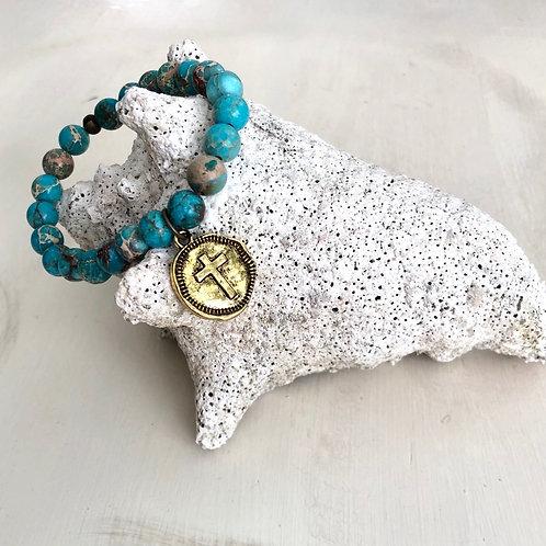 Light Turquoise and Sand Bracelet