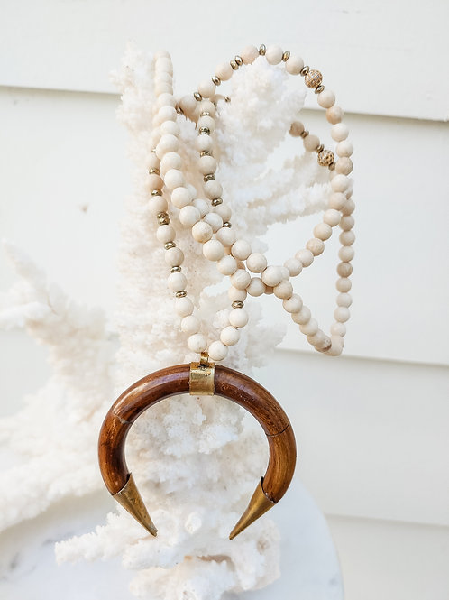Crescent Horn Beaded Necklace