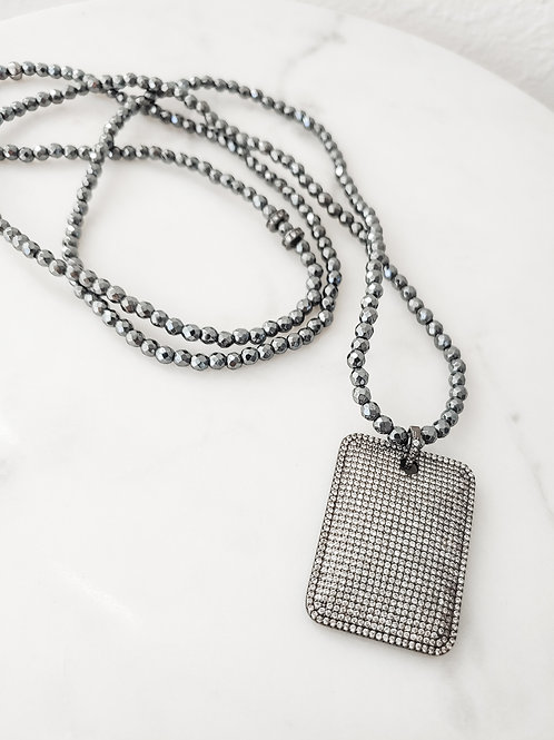 Hematite Baby Beaded Long Necklace with Pave Tag