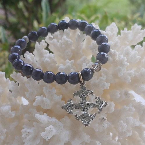 Navy Blue Beaded Silver Cross Charm Bracelet
