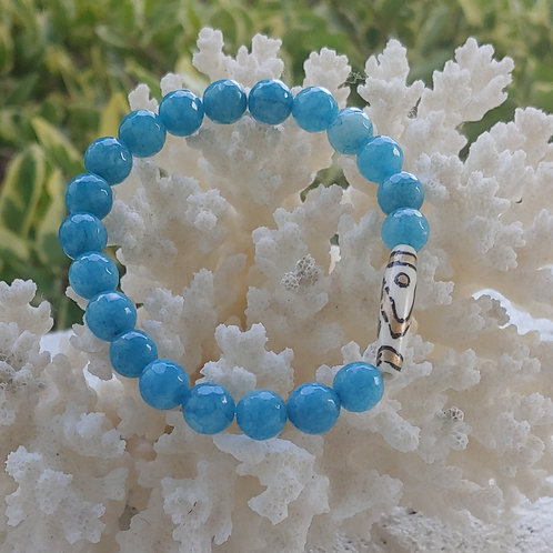 Turquoise Bracelet with Tribal Barrel Accent
