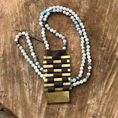 Amazonite Beaded Necklace with Boho Leather Pendant