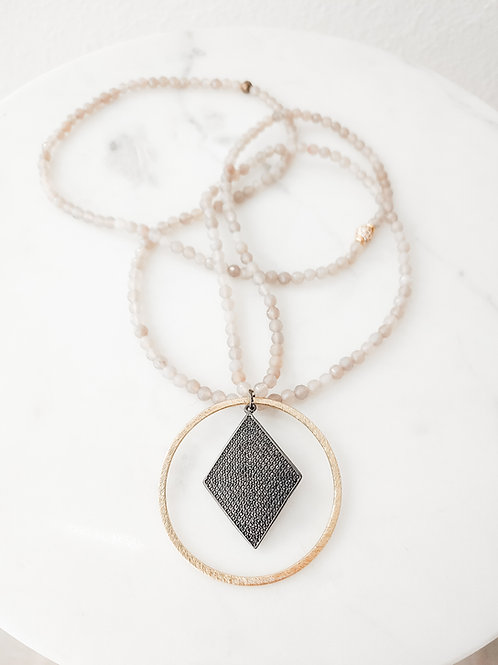 Smokey Light Gray Baby Beaded with Gold & Pave Pendant
