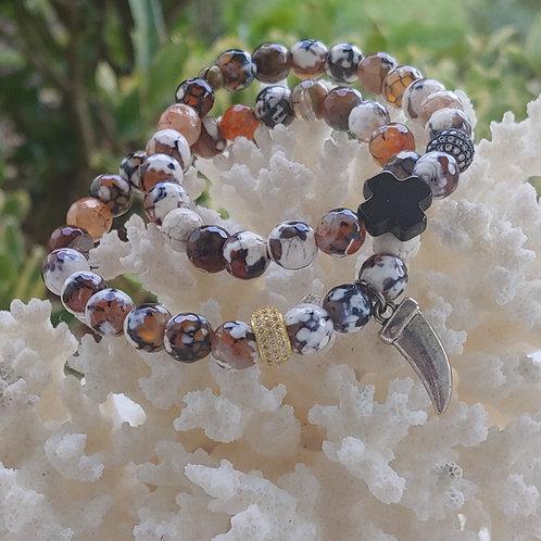 Fire Agate Beaded Bracelet Set