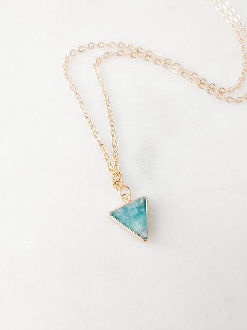 Marine Aqua Triangle Shortie Necklace