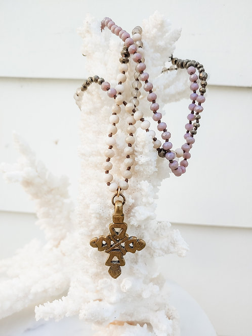 Multi-Color Knotted Necklace with Cross Brass Pendant