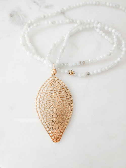Light Aqua Baby Beaded Long Necklace with Gold Filled Feather Pendant