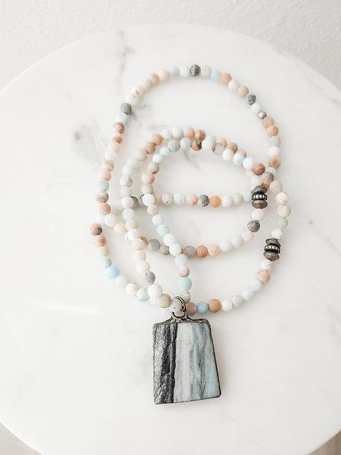 Amazonite Baby Beaded Long Necklace with Aquamarine Druzy Stone