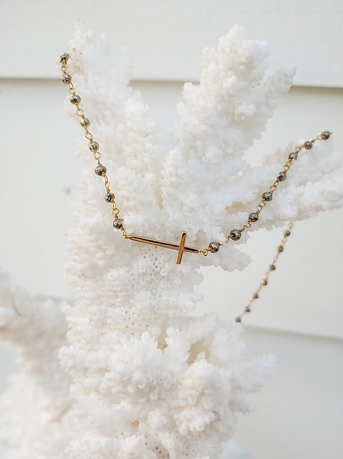 Sideways Cross Shortie Necklace