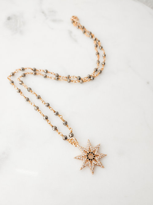 Pave Starburst Shortie Necklace