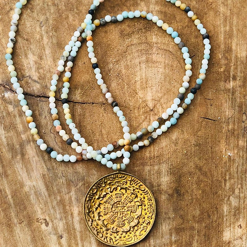 Amazonite Beaded Necklace with Bronze Coin