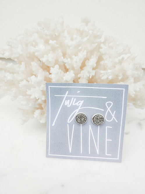 Stud Earrings - Silver Druzy with Silver Electroplating
