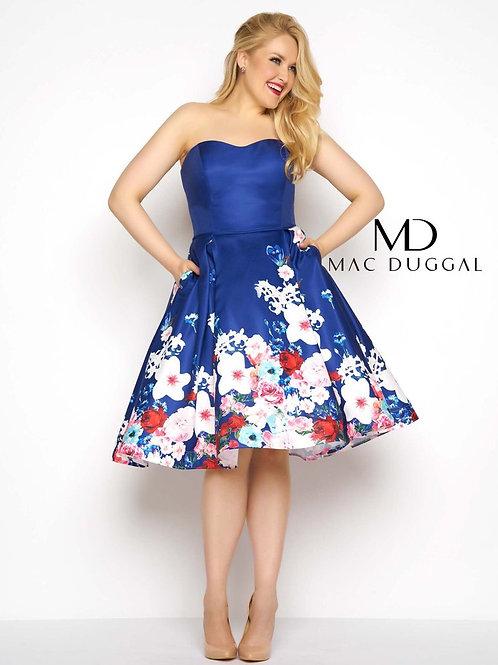 Mac Duggal 65969F Floral/Blue Size 14W