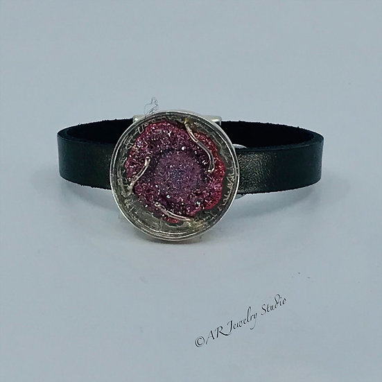 Sterling Silver, Druzy and Leather Bracelet