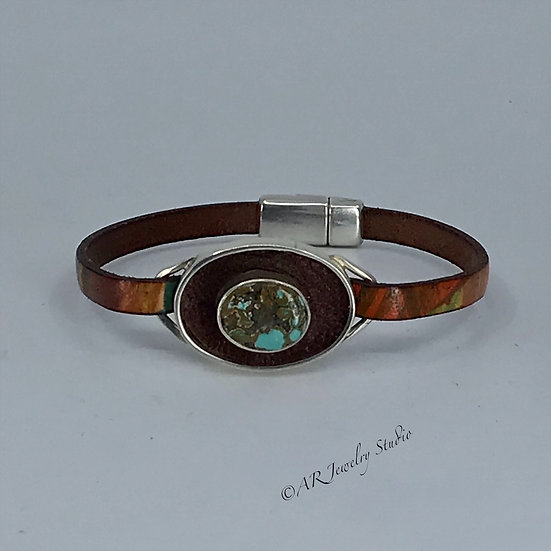 Sterling Silver, Kingman Turquoise and Leather Bracelet