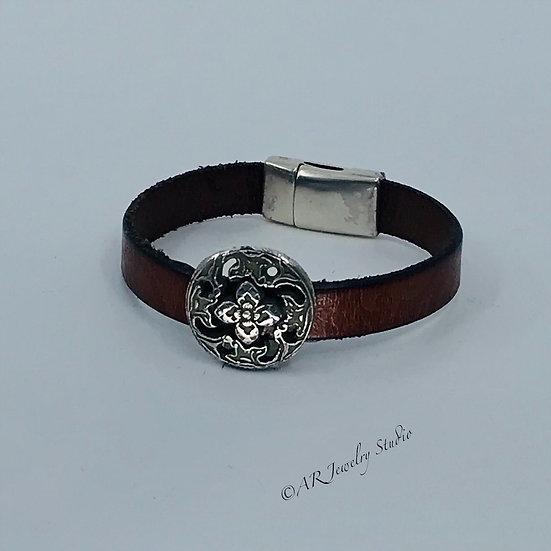 Fine Silver Vintage Button Bracelet