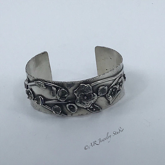 Sterling Silver Floral Cuff