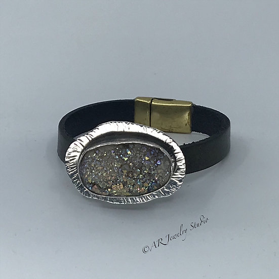 Sterling Silver and Druzy Leather Bracelet