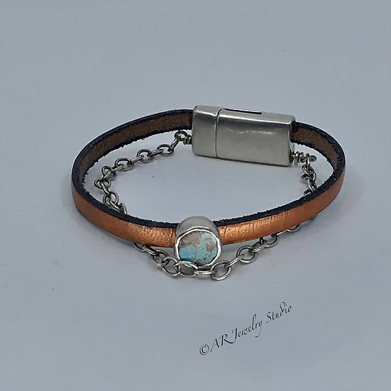Sterling Silver, Royston Turquoise and Leather Bracelet
