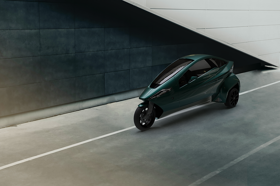 Helix, a three wheel electric vehicle that tilts