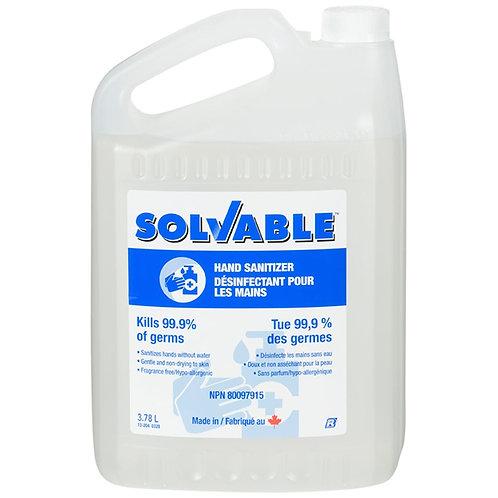 Le gel désinfectant pour les mains Solvable ™ tue 99,9% des germes